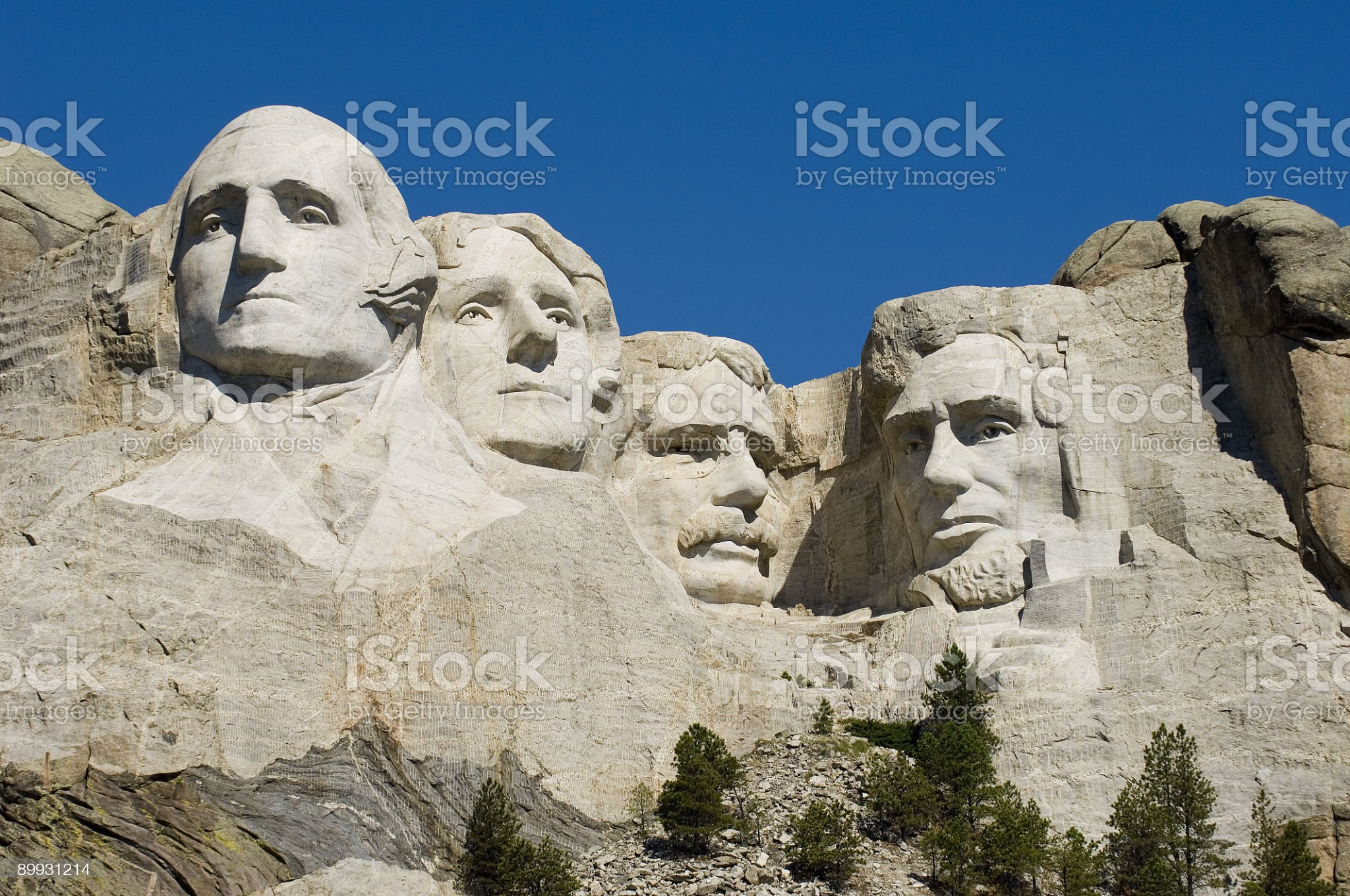 The carved rock face of Mount Rushmore royalty-free stock photo