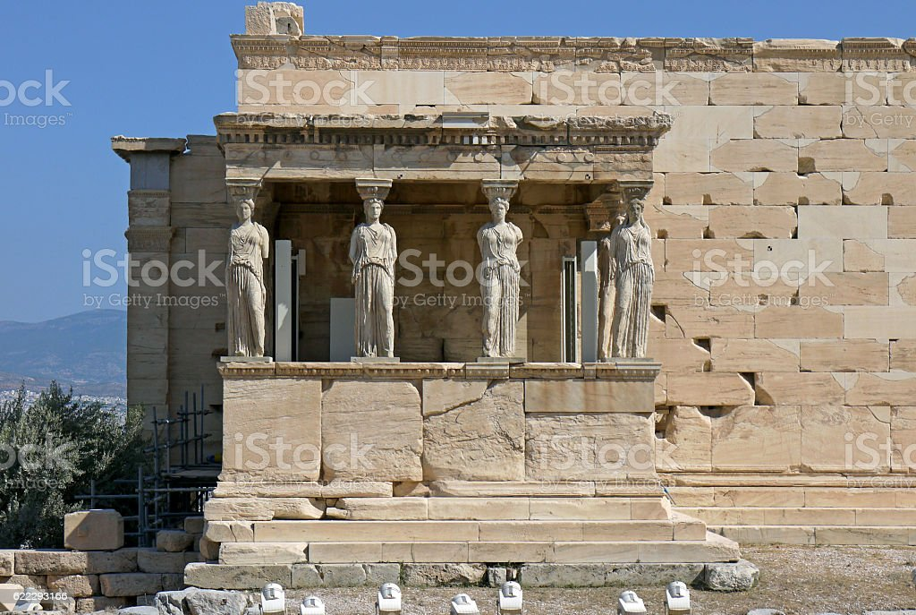 The caryatids of the Erechtheion, GREECE. stock photo