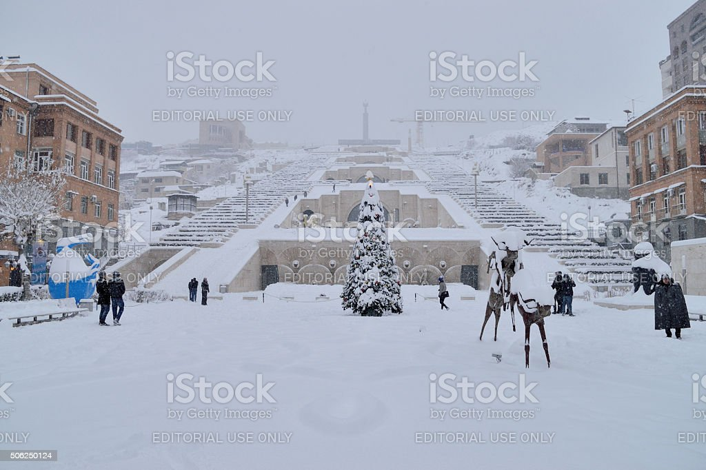 The Cascade winter scene, Yerevan, Armenia stock photo
