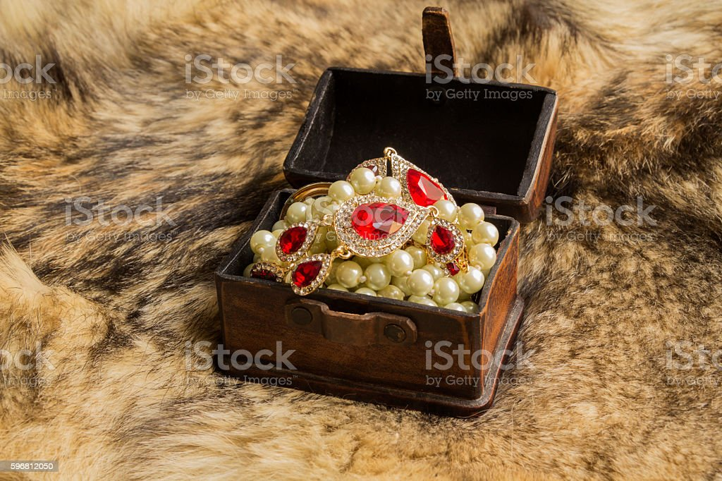 the casket on the fur stock photo
