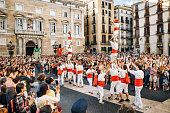 The Castellers de Barcelona and Giant puppets on Corpus Christi