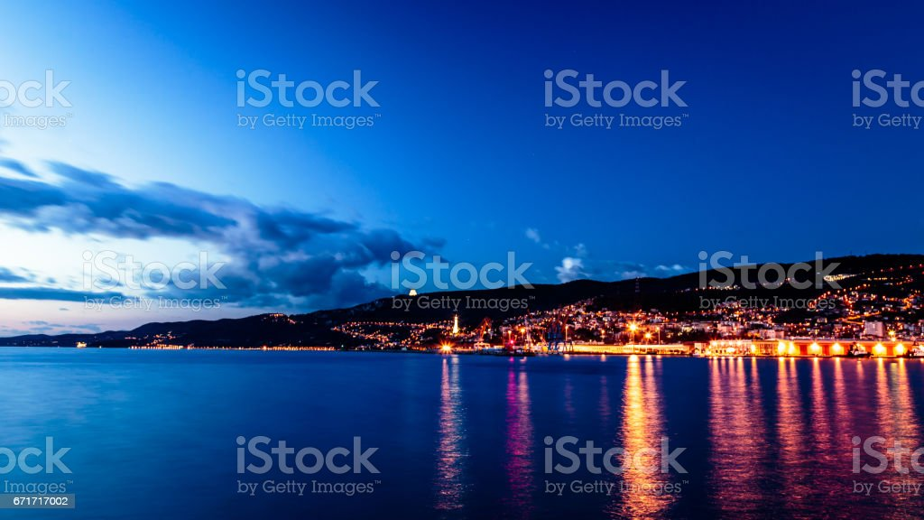 The castle and the lighthouse of Trieste stock photo