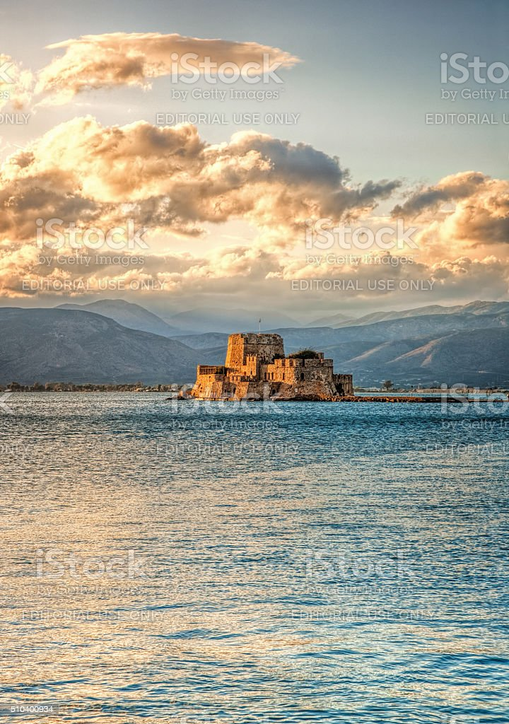 The castle of Bourtzi in Nafplio - Greece - during sundown stock photo