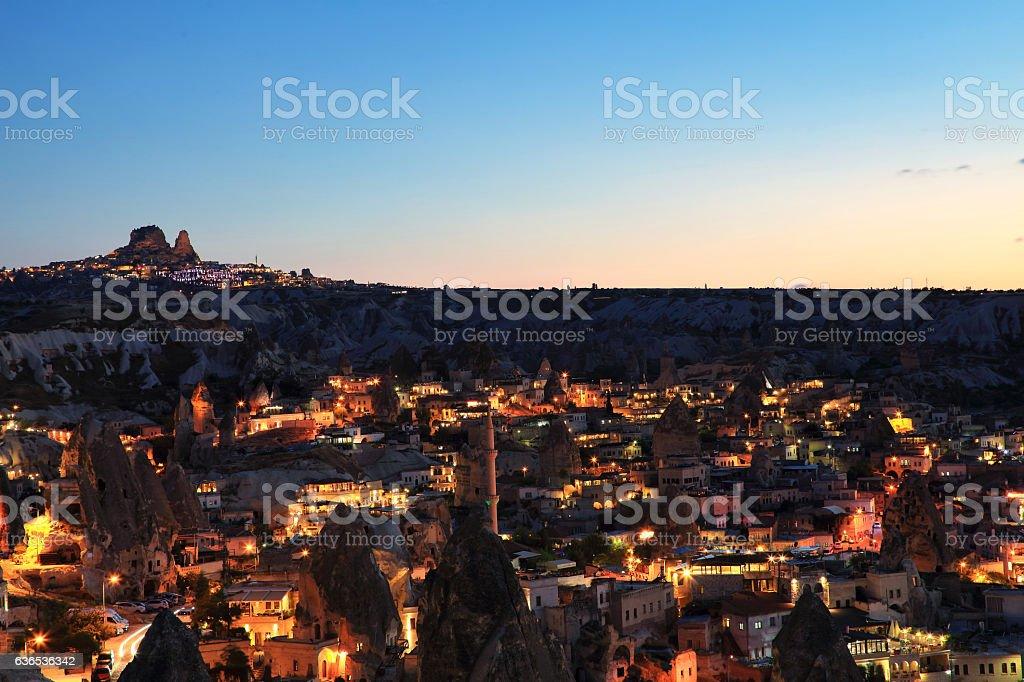 The castle of Uchisar in Cappadocia stock photo