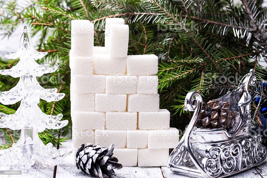the castle tower of sugar cubes stock photo