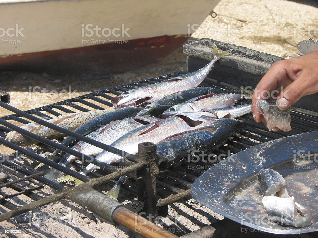 The catch on a grill royalty-free stock photo