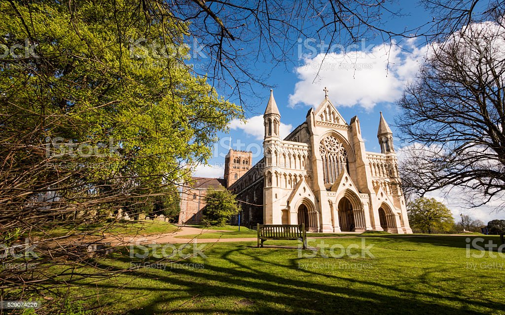 The Cathedral & Abbey Church of Saint Alban, St. Albans, England stock photo