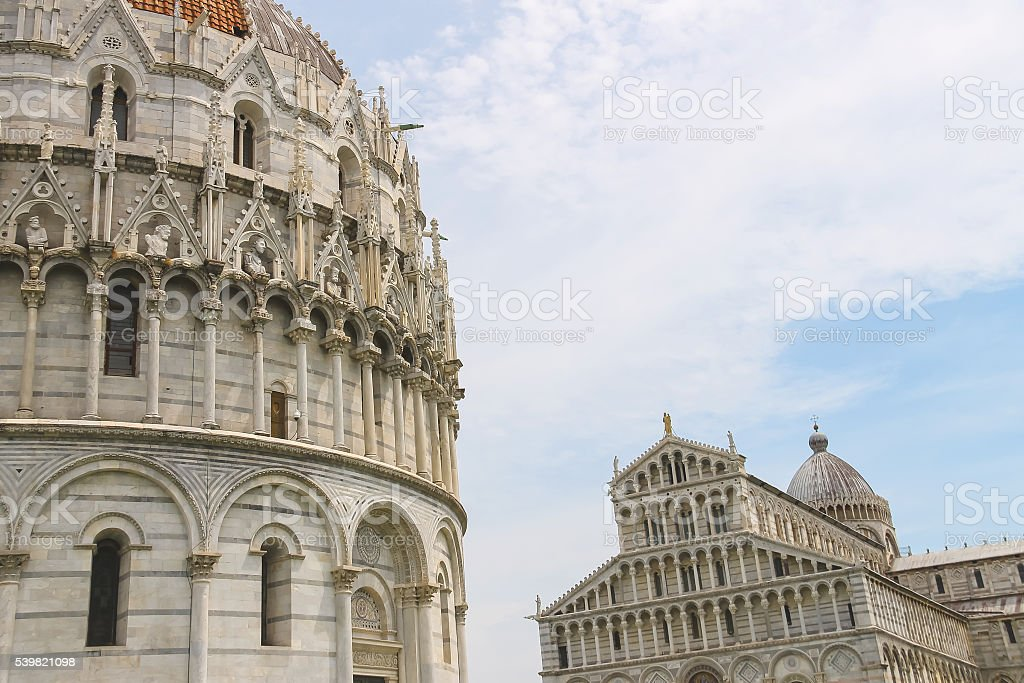 The Cathedral and  Baptisery of St. John in Pisa, Italy stock photo
