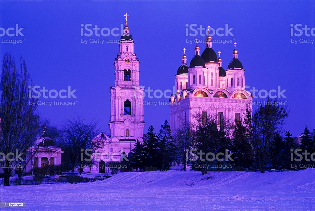 The cathedral and bell tower. stock photo