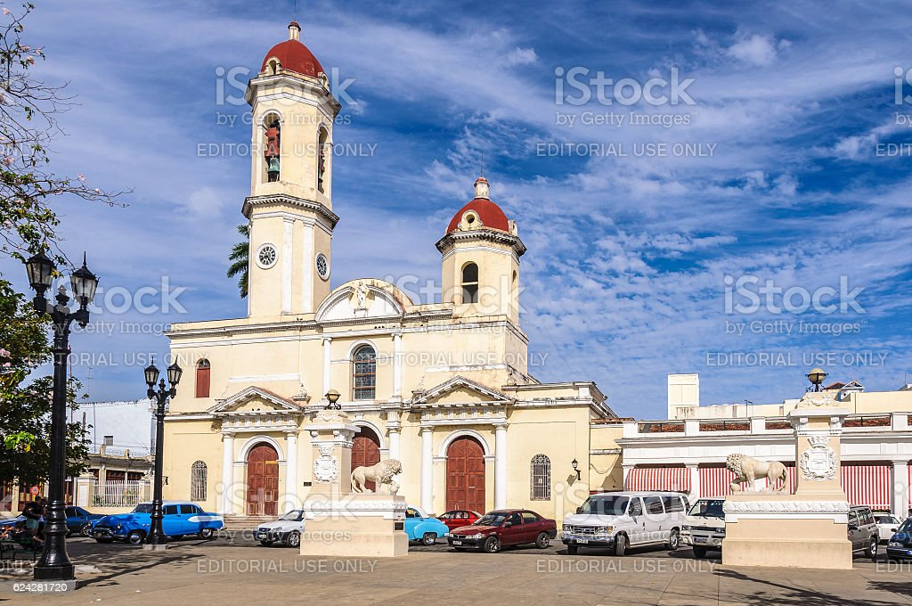 The Cathedral in Jose Marti Park in Cienfuegos, Cuba stock photo