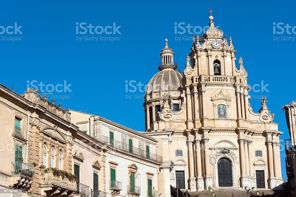 The cathedral in Ragusa Ibla, Sicily stock photo