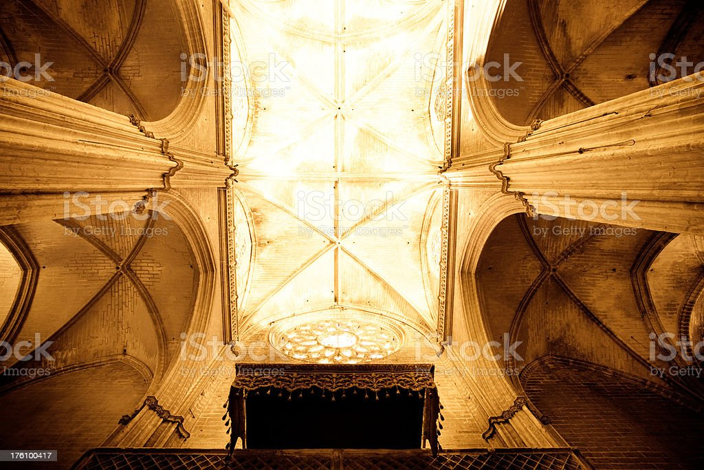 The Cathedral Interior, Sevilla Spain royalty-free stock photo