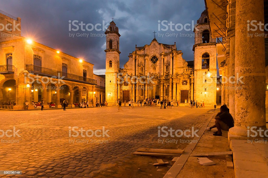 The cathedral of Havana, Cuba stock photo