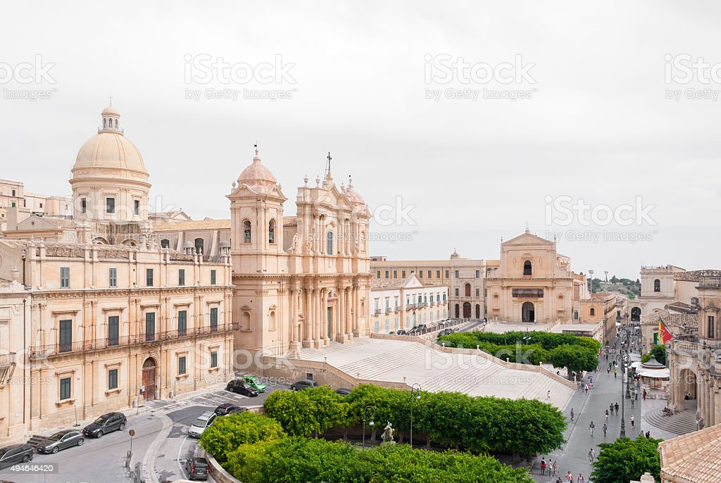 The cathedral of Noto and the main street stock photo
