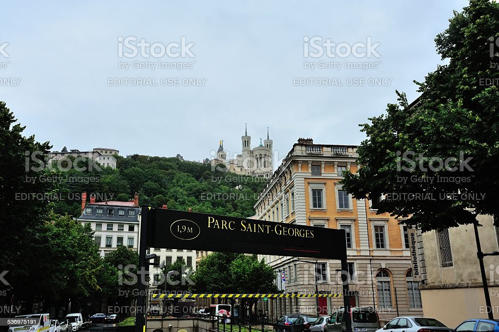 The cathedral of Notre Dame in Lyon stock photo