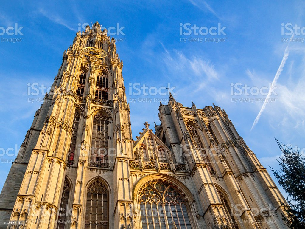 The Cathedral of Our Lady in Antwerp, Belgium stock photo