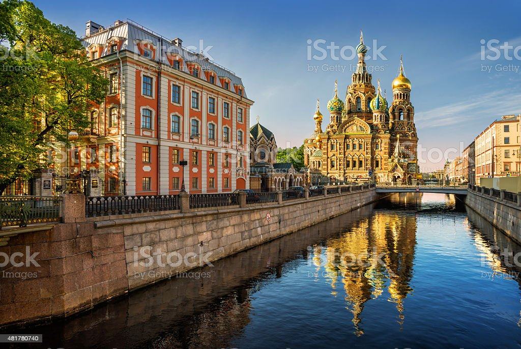 The Cathedral of Our Savior on Spilled Blood with reflection stock photo