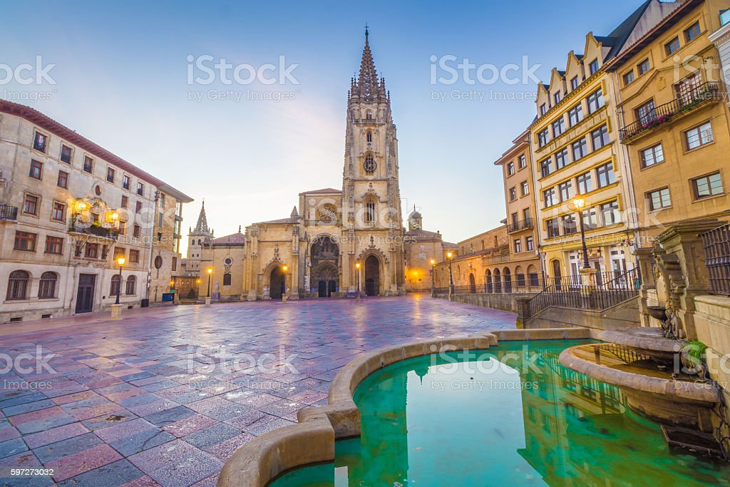 The Cathedral of Oviedo stock photo