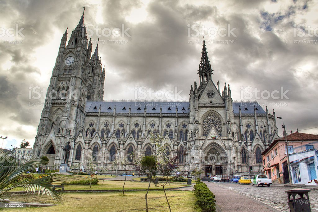 The cathedral of Quito stock photo