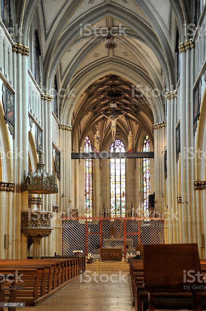 The Cathedral of St. Nicholas in Fribourg stock photo