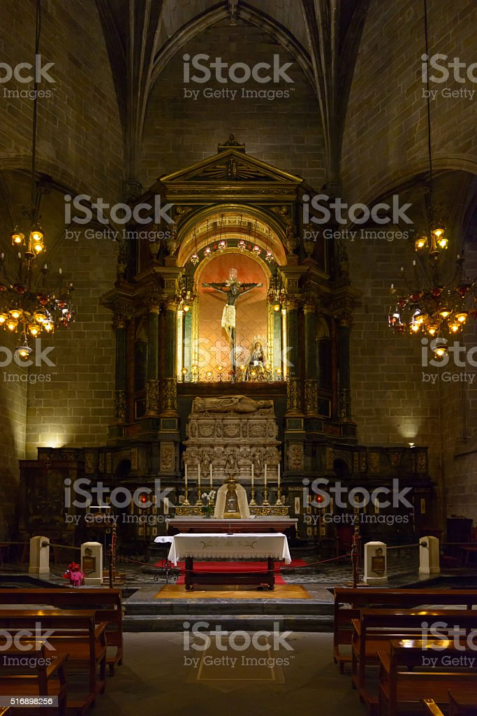 The Cathedral of the Holy Cross and Saint Eulalia, Barcelona. stock photo