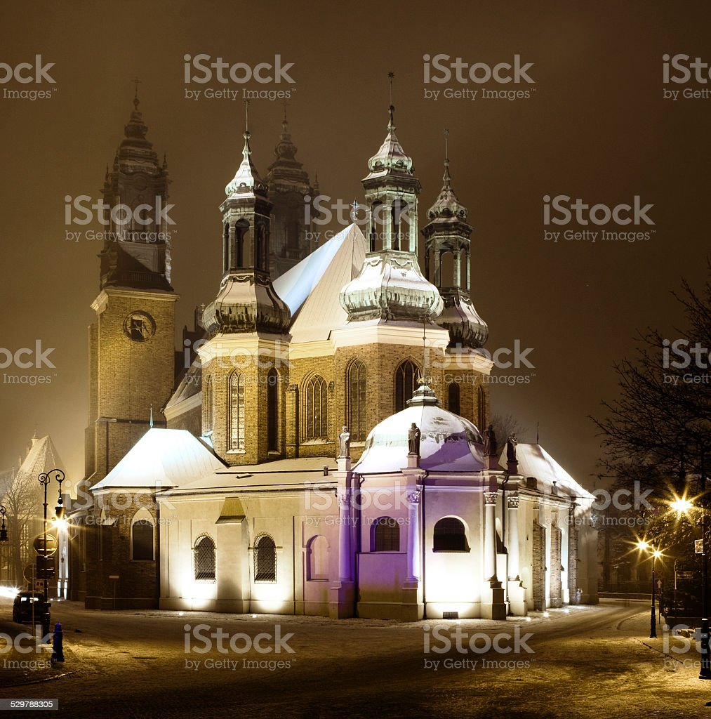 The catherdal in Poznan, Poland stock photo