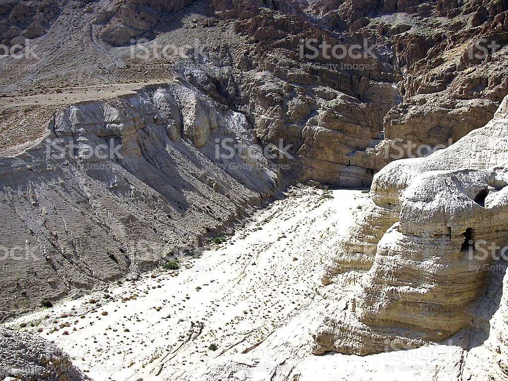 The caves of Qumran stock photo