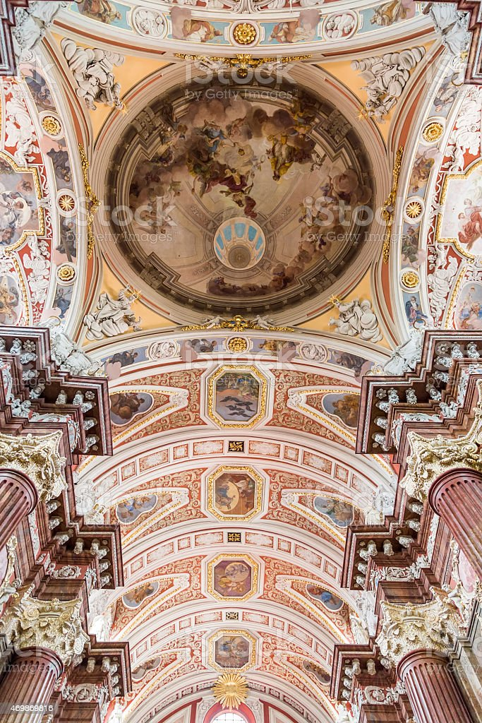The ceiling is painted in the Church stock photo