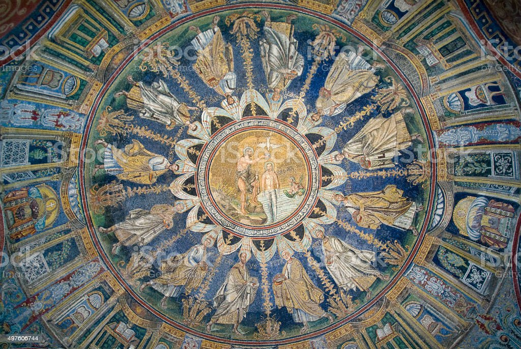 The Ceiling mosaic of The Baptistry of Neon. Ravenna, Italy stock photo