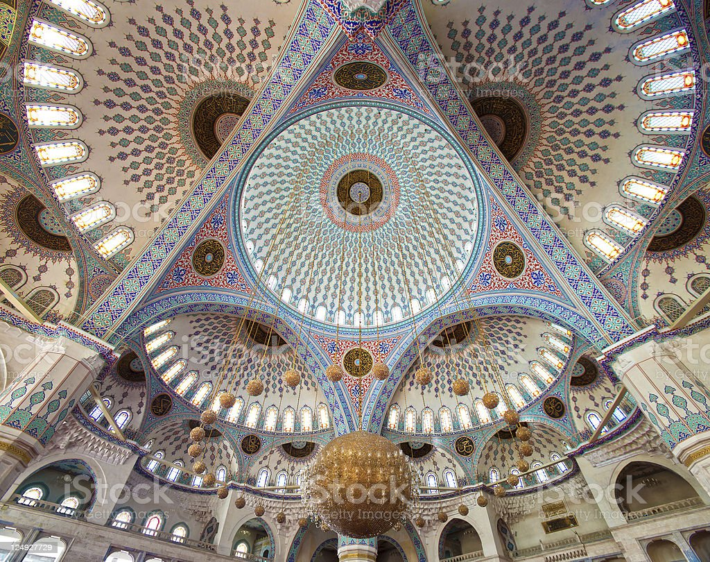 The ceiling of the beautiful Kocatepe Mosque stock photo
