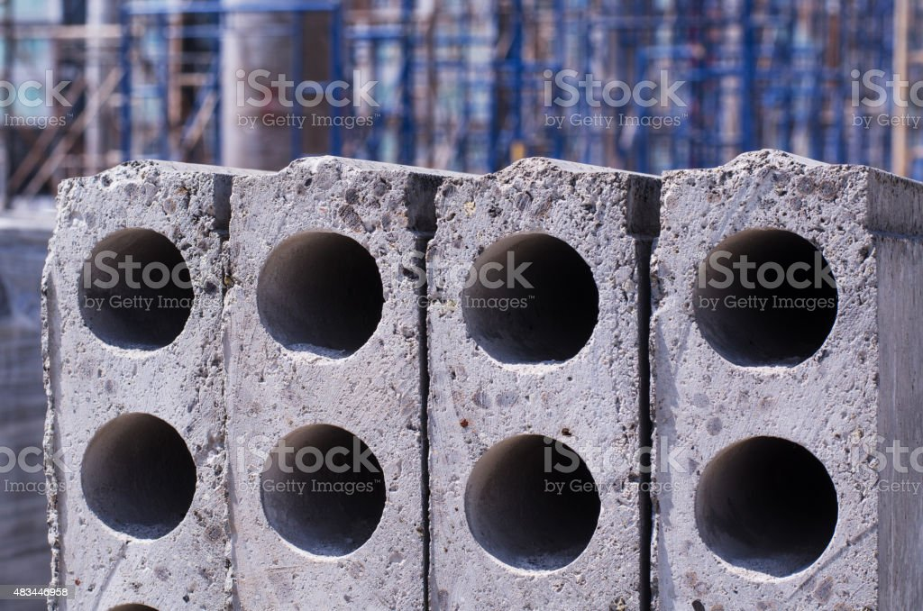 The cement slabs stacked neatly. stock photo