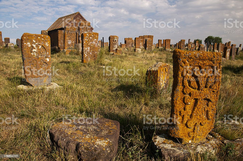 The cemetery of Noratus, Armenia royalty-free stock photo