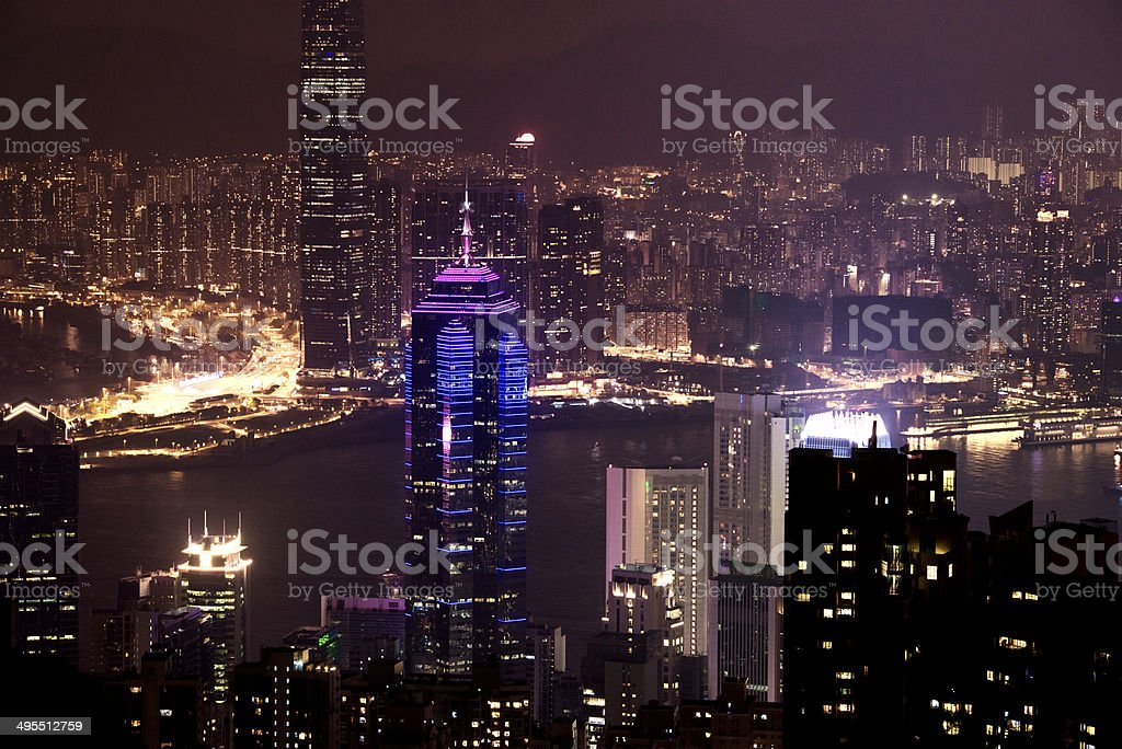 The Center Hong Kong Cityscape Night View from Victoria Peak stock photo