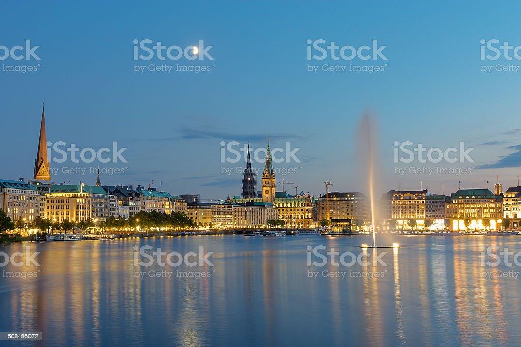 The center of Hamburg at dawn stock photo