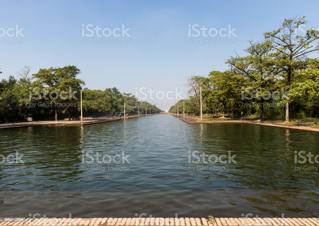 The central channel, temple complex of Lumbini, Nepal stock photo