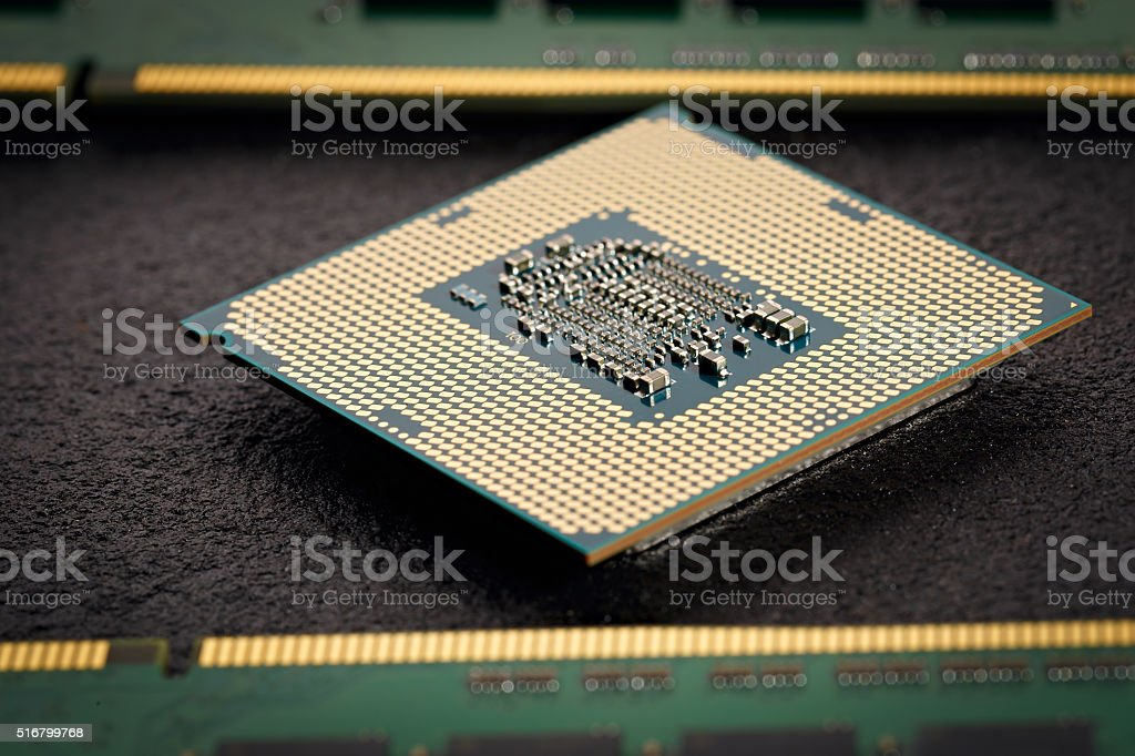The central computer processor with memory modules stock photo