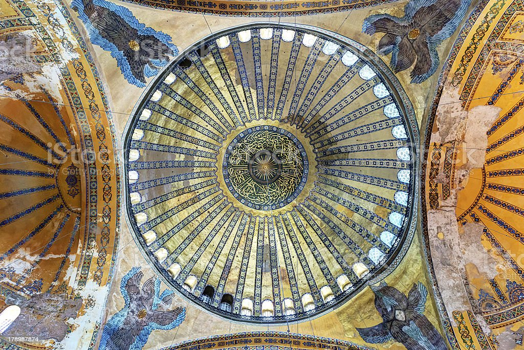 The central dome of Hagia Sophia in Istanbul, Turkey royalty-free stock photo