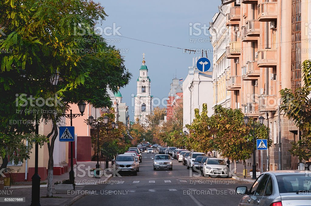 The central part of the city of Astrakhan. stock photo