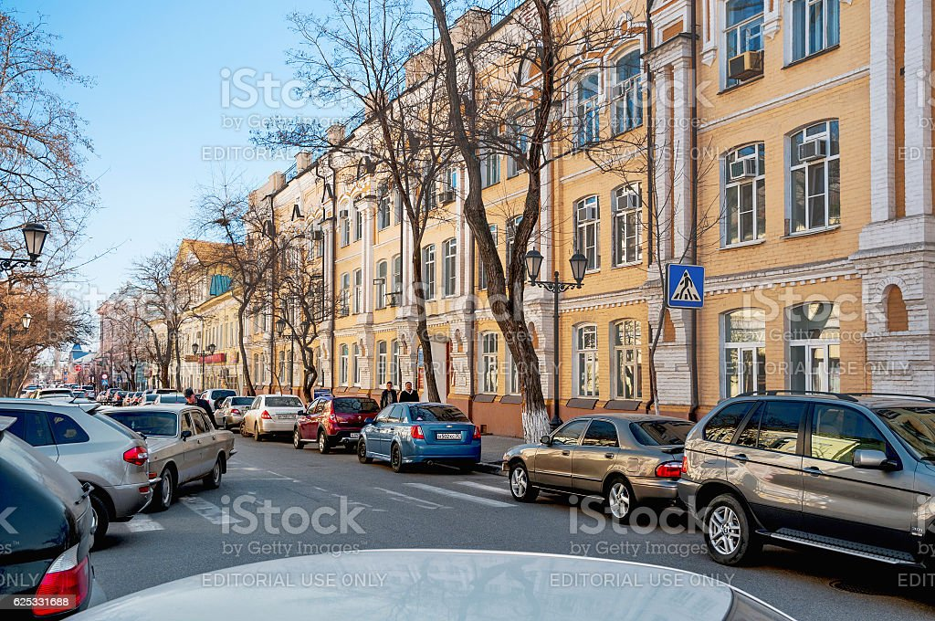 The central part of the city of Astrakhan stock photo