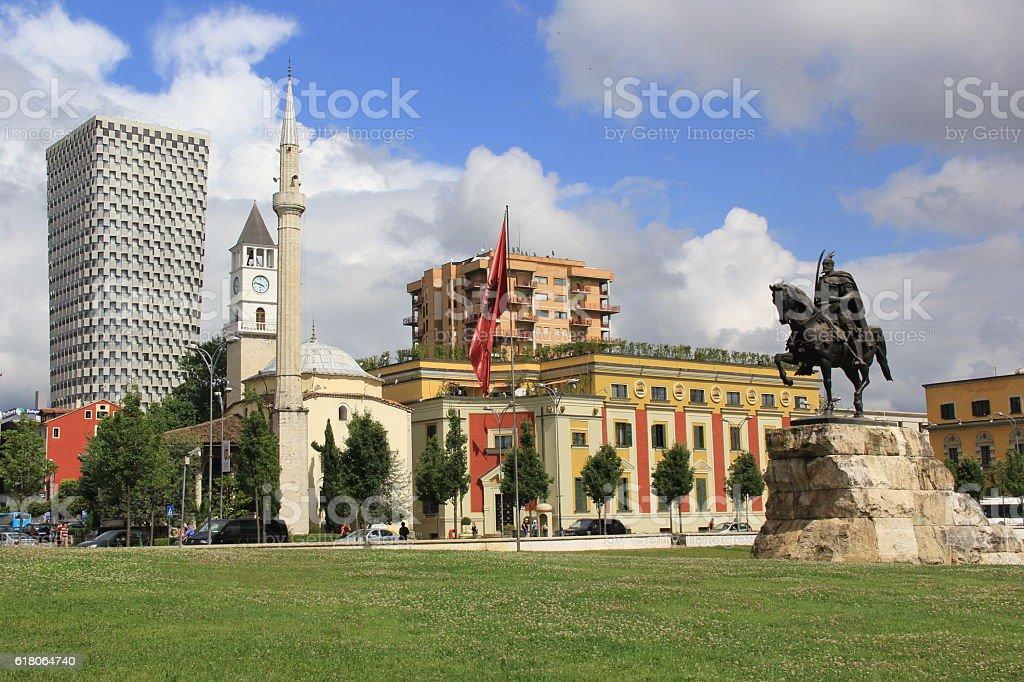 The central square in Tirana, Albania stock photo