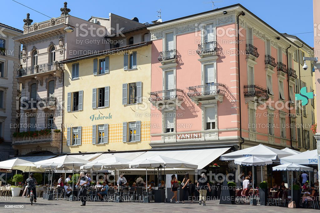 The central square of Lugano on Switzerland stock photo