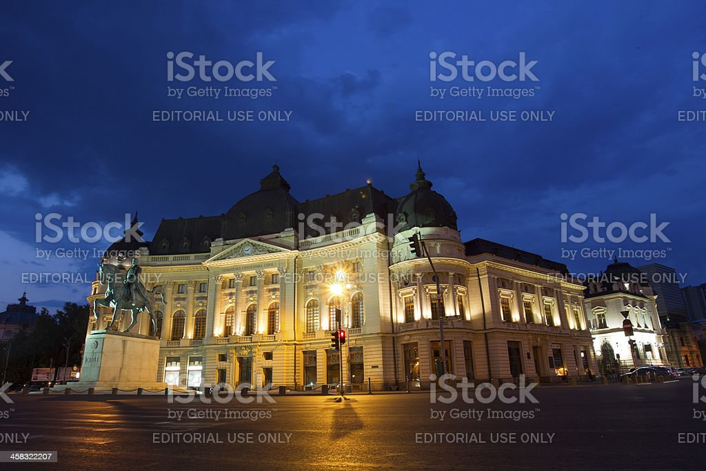 The Central University Library and Carol I statue royalty-free stock photo