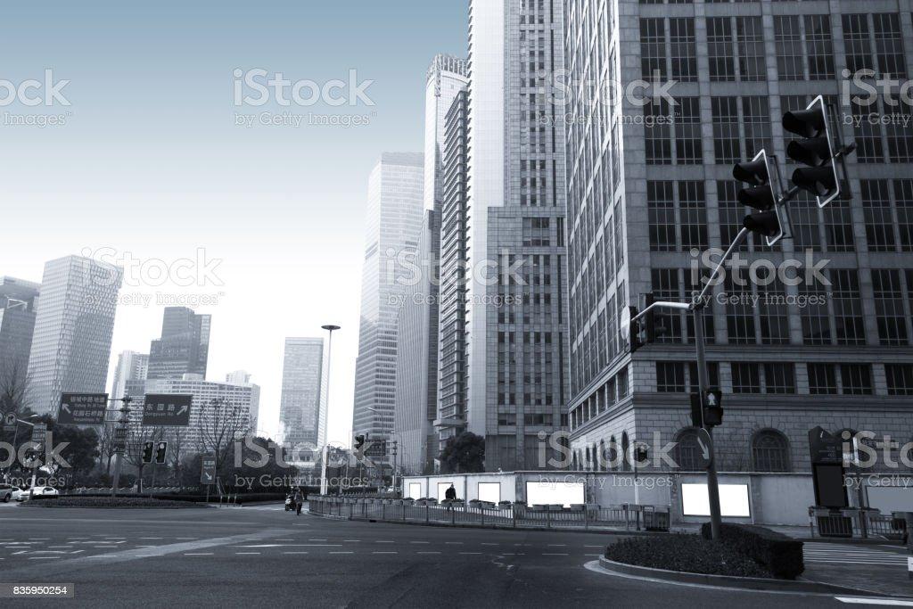 The century avenue of street scene in shanghai Lujiazui,China. stock photo