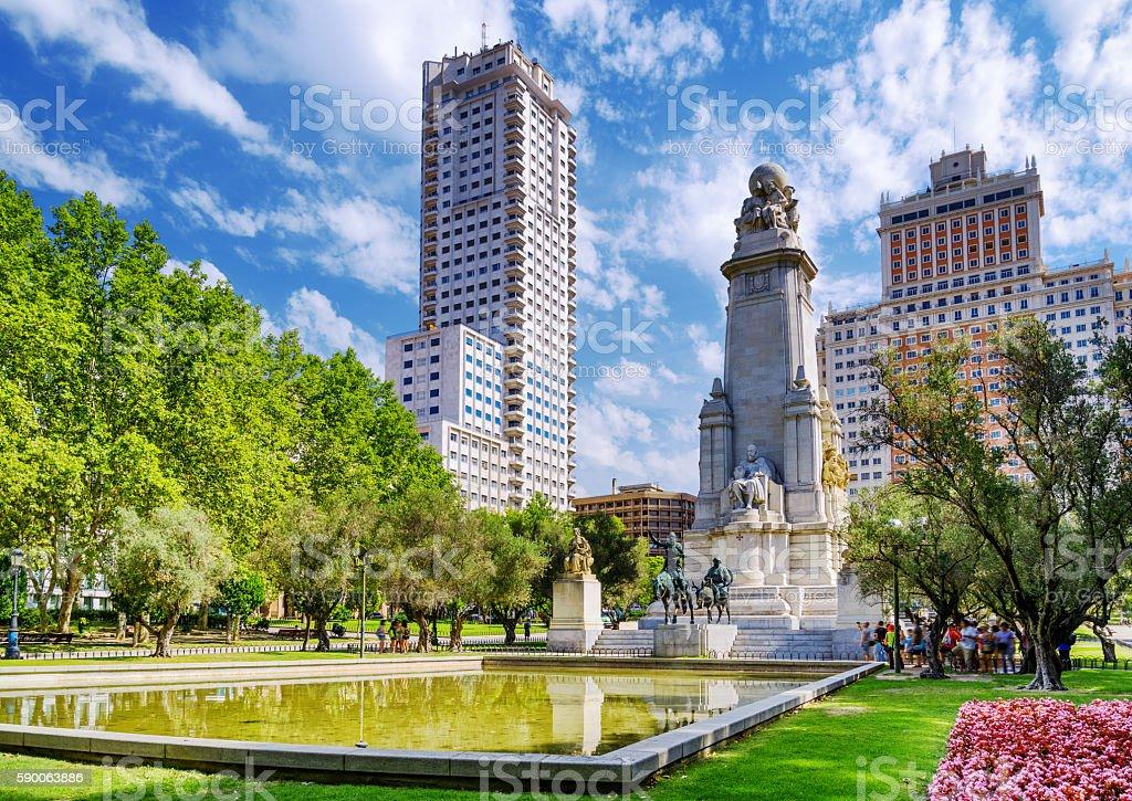 The Cervantes monument stock photo