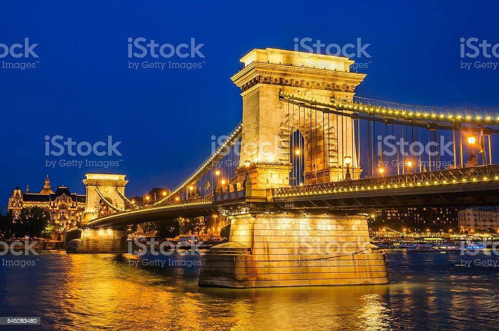 The chain bridge at night in Budapest, Hungary stock photo