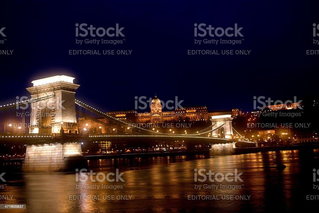 The Chain Bridge by night, Budapest, Hungary royalty-free stock photo