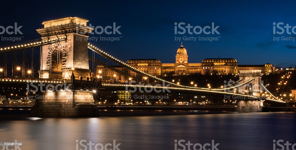 The Chain Bridge in Budapest at Night stock photo