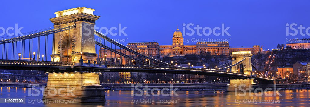 The Chain Bridge in Budapest by night royalty-free stock photo