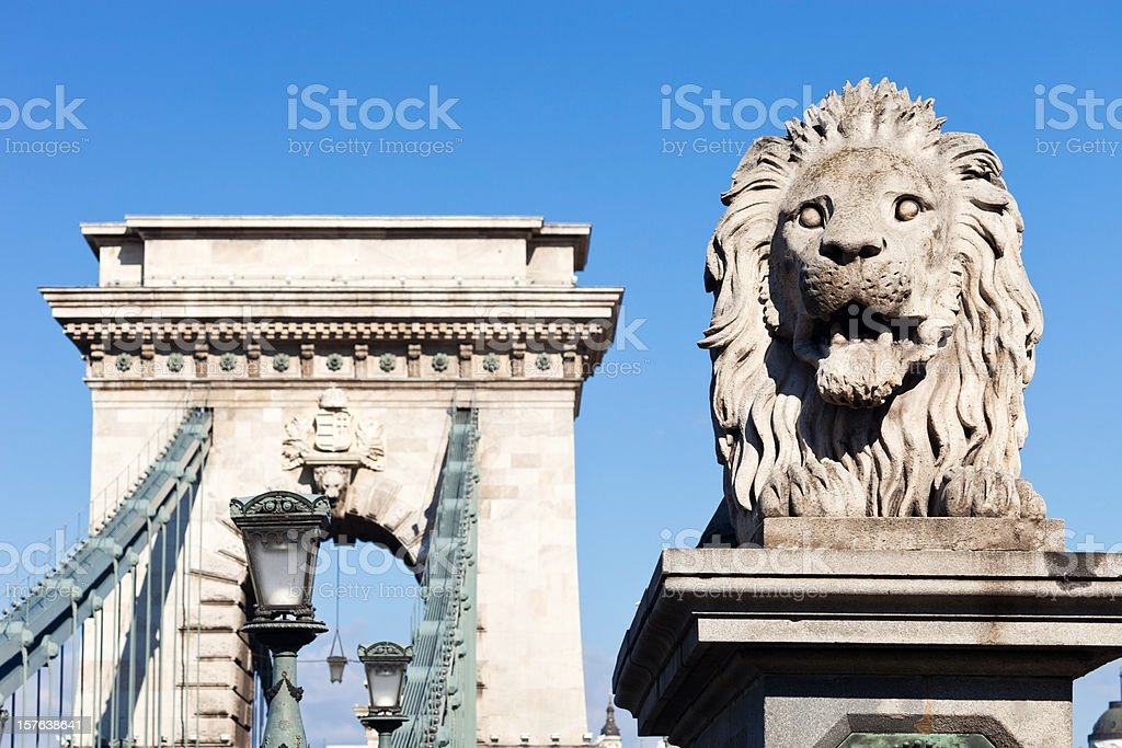 The Chain Bridge In Budapest, Hungary royalty-free stock photo