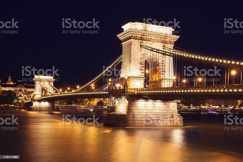 The Chain Bridge in Budapest stock photo